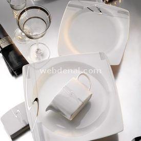 Kütahya Porselen Aliza Bone Kare 85 Parça Yemek Takımı resim