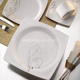 Kütahya Porselen ALİZA BONE KARE 85 PARÇA YEMEK TAKIMI resim