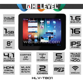 Hi-level T801 CORTEX A9 1.6GHZ 1GB DDR3 16 GB 8'' TABLET resim
