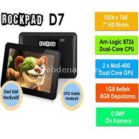 "Spec Rockpad D7 Amlogic 8726-mx Dual-core Cortex A9 1 Gb 8 Gb 7"" Android 4.1 Siyah + Kılıf"