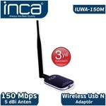 Inca Iuwa-150m Kablosuz,150mbps,5 Dbi Harici Antenli Usb N Sinyal Alıcı