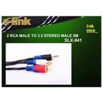 S-link Slx-941 5 Metre 2 Rca - 3.5mm Altın Uçlu Ses Kablosu