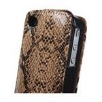 Microsonic Snake Leather Flip Case Deri Kilif - Iphone 4 - Kahverrengi