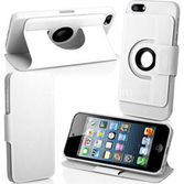 Microsonic 360 Rotating Stand Deri Kilif  Iphone 5 Beyaz