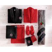 Taç Tekstil Taç Rosso Aile Dantelli Bornoz Seti - Kirmizi-siyah