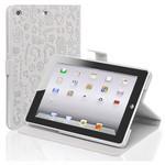 Microsonic Cute Desenli Kickstand Ipad Mini Deri Kılıfı Beyaz