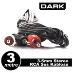 Dark 3 Metre 2 X Rca (analog Ses) - 3.5mm Stereo Kablosu (2 X Rca Erkek - 1 X 3.5mm S