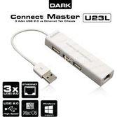 Dark Connect Master Dk-ac-usb23l, Ethernet Girişli Çevirici Ve 3 Port Usb 2.0 Çoğaltı