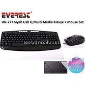 Everest Un-777 Siyah Usb Q Multi-media Klavye + Mouse Set
