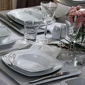 Pierre Cardin Arya Silver 86 Parça Porselen Kare Yemek Takimi