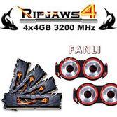 Gskill F4-3200c16q-16grkd Ripjaws4 + Fanli Siyah Ddr4-3200mhz Cl16 16gb (4x4gb) Quad