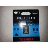 Toshiba 64 Gb  Sdxc Secure Digital Sd Card Class 10 High Speed