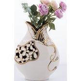 Goldmaster Ahd-1130 - Beyaz-altın Kelebekli Vazo Şişman 31*23
