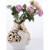 Goldmaster Ahd-1131 - Beyaz-altın Kelebekli Vazo Küçük 23*18