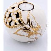 Goldmaster Ahd-1135 - Beyaz-altın Kelebekli Çiçekli Mumluk Küçük Boy 9*1