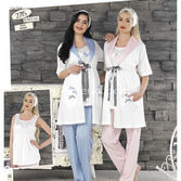 Haluk Baha Lohusa 3'lü Emzirme Pijama Takım Pembe S