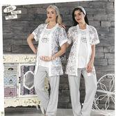 Haluk Baha Lohusa 3'lü Pijama Takım Pembe M