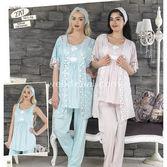 Haluk Baha Lohusa 3'lü Pijama Takım Pembe L