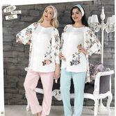 Haluk Baha Lohusa 3'lü Pijama Takım Turkuaz Xl