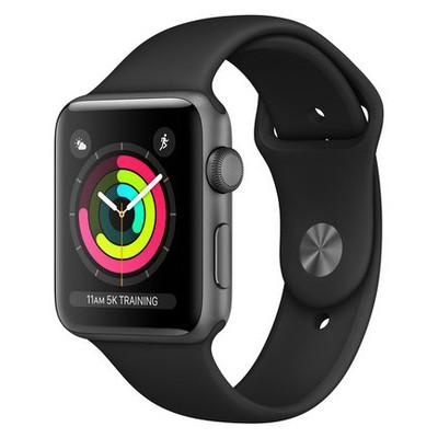 Apple Watch Series 3 Gps 42mm Uzay Grisi Alminyum Kasa Ve Siyah Spor Kordon