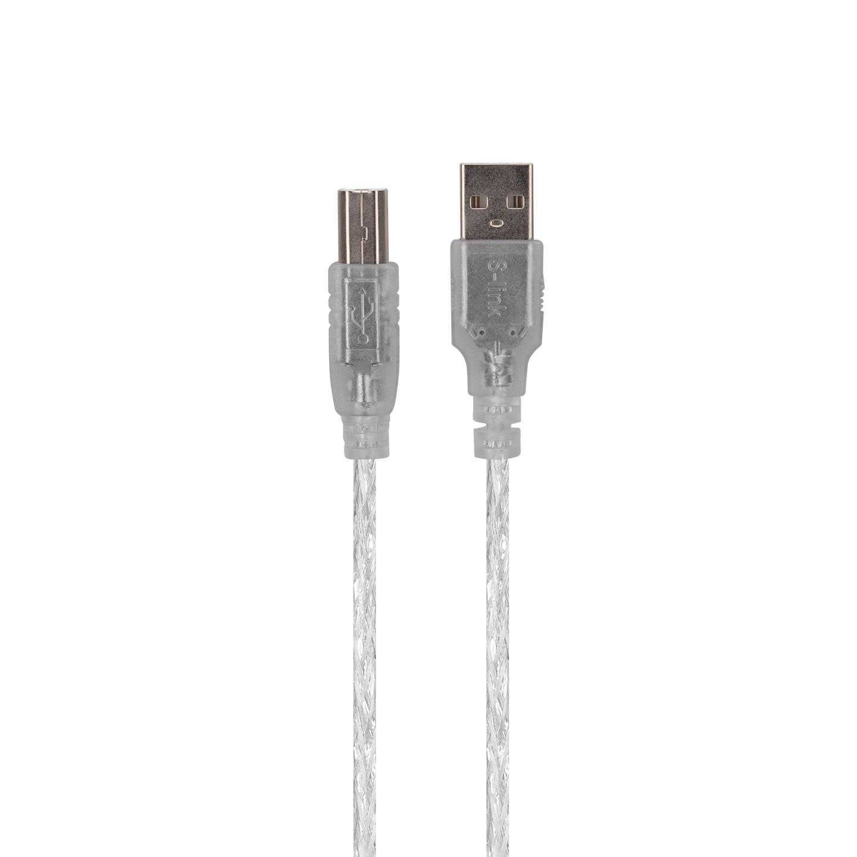 S-Link SL-U2015 USB 2.0 1.5Mt Şeffaf Yazıcı Kablo Yazıcı Aksesuarı