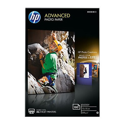 HP Q8692a Gelısmıs Parlak Fotograf Kagıdı - 100 Yaprak -10 X 15 Cm - Kenar Bosluksuz - 250 G/m2 Fotoğraf Kağıdı