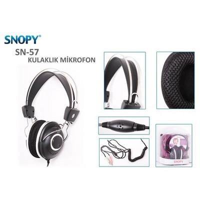 Snopy SN-57 Siyah Lüks Profesyonel Mikrofonlu Kulaklık Kafa Bantlı Kulaklık