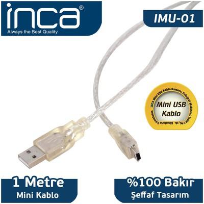 Inca Imu-01 1 Metre Usb 2.0 Usb - Mini Usb 5 Pin Kablo Kablo (am-mini Usb) USB Kablolar
