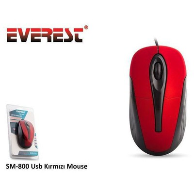 Everest SM-800 Kablolu Mouse - Siyah/Kırmızı