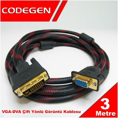 Codegen Cpd19 3 Metre Dvı / Vga Çevirici Kablo M/f Ses ve Görüntü Kabloları