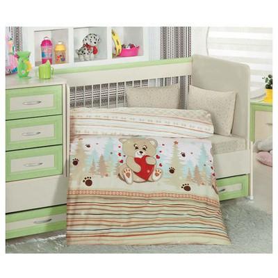 Altınbaşak Ayıcık Bebek Nevresim Takımı - Kahve Ev Tekstili