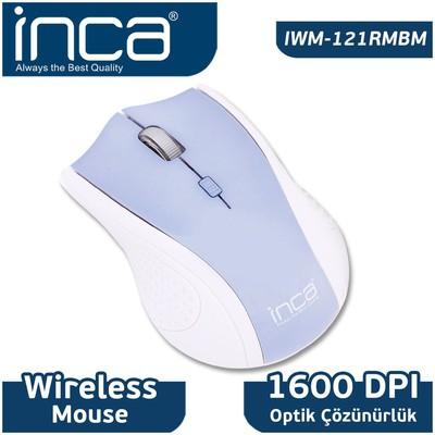 Inca Iwm-121rmbm Kablosuz,nano Alıcılı,3b+1,1600 Dpı Optik ,buz Mavisi Mouse