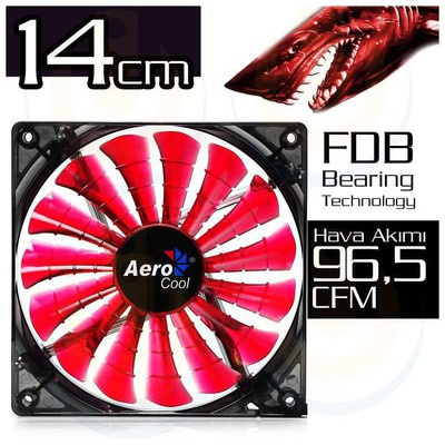 Aerocool Ae-cfsh140r 140mm Shark Kırmızı Ledli Devil Red Edition Şeffaf Sessiz Kasa ı Fan