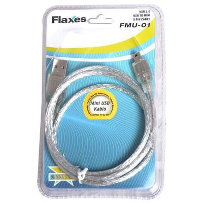 Flaxes FMU-01 1 Metre USB 2.0 Mını USB 5 Pin 0 (AM-Mini USB) USB Kablolar