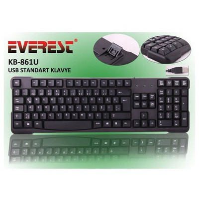 Everest KB-861U Kablolu, USB, Q, TR MM , Siyah Klavye