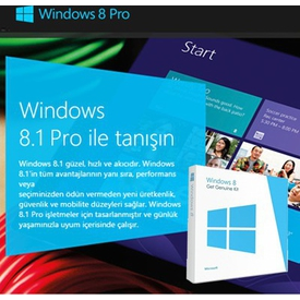 Microsoft Ms Ggk Wındows 8.1 Pro, Türkçe, Get Genuine Kit (lisanslama Kiti) 32/64 Bit, 4yr-00035 İşletim Sistemi