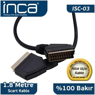 Inca Isc-03 1,8 Metre Scart Kablo Altın Ses ve Görüntü Kabloları