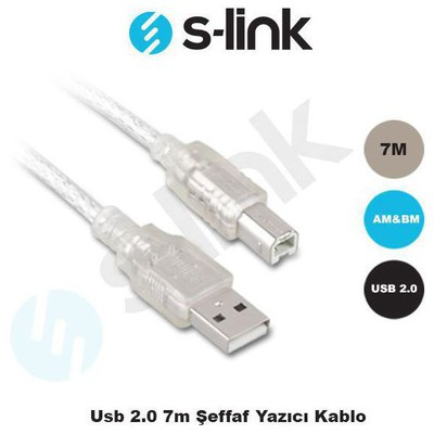 S-Link SL-U2007 7 Metre USB 2.0 Şeffaf Yazıcı Kablosu Yazıcı Kabloları