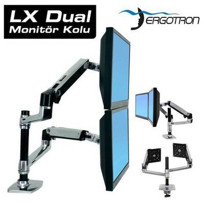 Ergotron 45-248-026 Lx Serisi Dikey Konumlanabilir Çift Lcd Monitör Kolu Televizyon Aksesuarı
