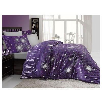 Altınbaşak Pırıltı Saten Uyku Seti Çift Kişilik - Mor Ev Tekstili
