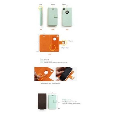 Microsonic Iphone 4 Ultra Slim Smart Case Deri Kılıf Siyah Cep Telefonu Kılıfı