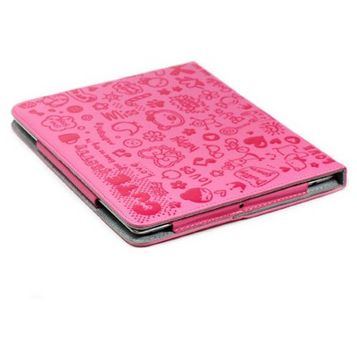 Microsonic Cute Desenli Kickstand Ipad2-3-4 Deri Kılıfı Pembe Tablet Kılıfı
