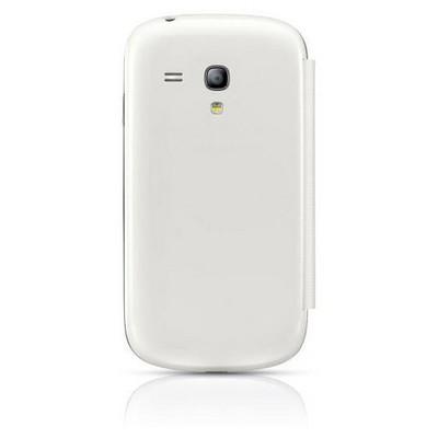 Microsonic Delux Kapaklı Kılıf Samsung Galaxy S3 Mini I8190 Beyaz Cep Telefonu Kılıfı