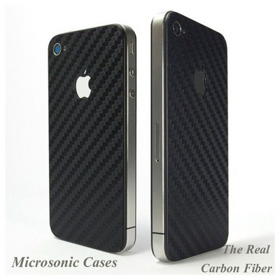 Microsonic Carbon Fiber Sticker Kılıf -iphone 4 Cep Telefonu Kılıfı