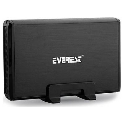 """Everest Hdc-585 3.5"""" Sata+ıde Siyah Aleminyum Soğutuculu Harddisk Kutusu Harici Disk Kutusu"""