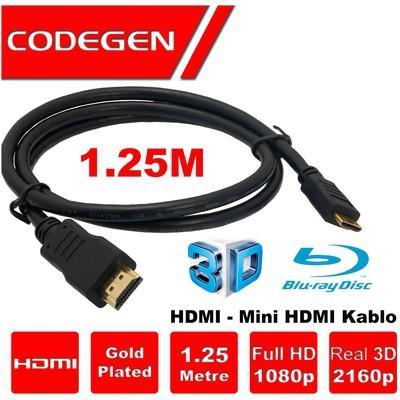 Codegen Cps18 1,25 Metre Hdmı- Mini Hdmı Kablo V1.4 3d Altın Uçlu HDMI Kablolar