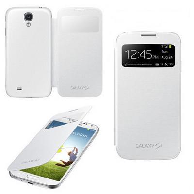 Microsonic View Cover Delux Kapaklı Kılıf Samsung Galaxy S4 Akıllı Modlu Beyaz Cep Telefonu Kılıfı
