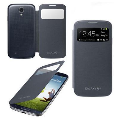 Microsonic View Cover Delux Kapaklı Kılıf Samsung Galaxy S4 Akıllı Modlu Siyah Cep Telefonu Kılıfı