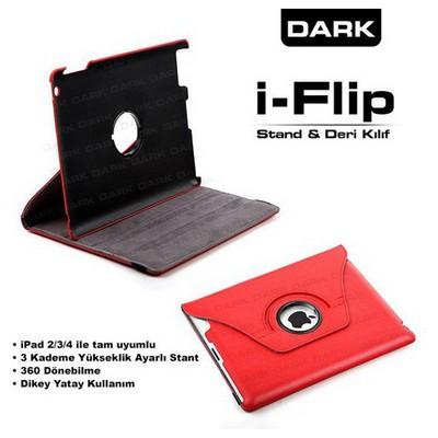 Dark Dk-ac-ıpkrt01-rd Ipad 2/3/4 Uyumlu 360 Derece Dönebilen Smart Cover Kırmızı Renk Tablet Kılıfı