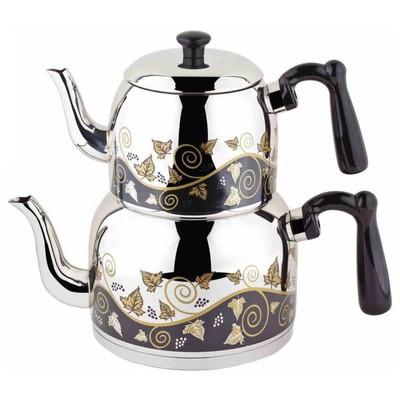 Özkent Menekşe Orta Desenli Çaydanlık Takımı Çaydanlık & Cezve
